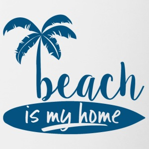 Surfer / Surfing: Beach is my home - Contrasting Mug