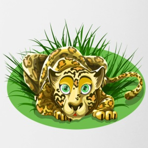 leopard cartoon - Mok tweekleurig