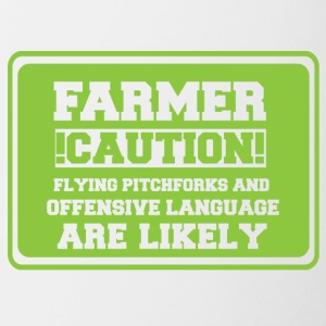 Farmer / Landwirt / Bauer: Farmer! Caution! Flying - Tasse zweifarbig
