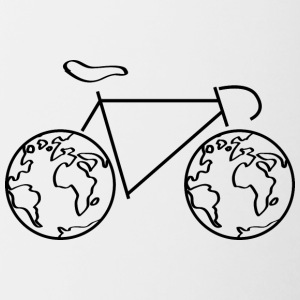 One the road - with the bike around the world. - Contrasting Mug