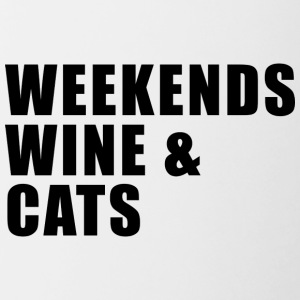 WEEKEND. WINE AND CATS! - Contrasting Mug