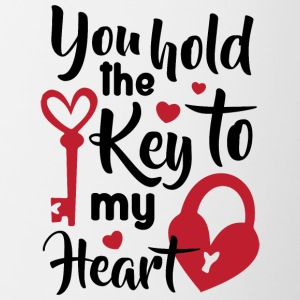 Liebeserklärung: You hold the key to my heart - Tasse zweifarbig