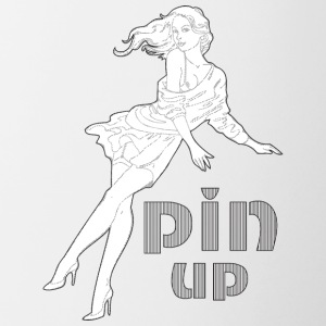 sexy pin up fille aux cheveux longs - Tasse bicolore