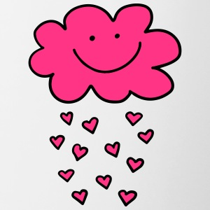 Funny cloud hearts, Valentine's Day, Love, smile - Contrasting Mug