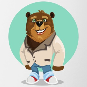 Cute bear in jeans and laughs - Contrasting Mug