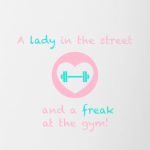 A lady in the street and a freak at the gym - Contrasting Mug