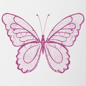 Butterfly in pink, hand drawn - Contrasting Mug