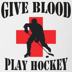 Hockey Give Blood Play Hockey - Contrasting Mug