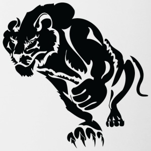 lion with fist black - Contrasting Mug