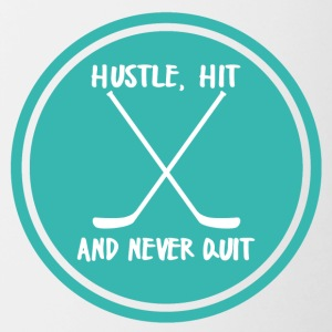 Hockey: Hustle, Hit en nooit stoppen. - Mok tweekleurig