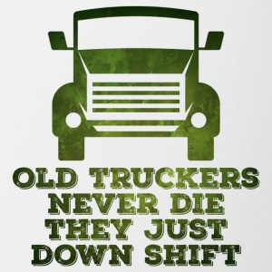 Trucker / Truck Driver: Old Truckers Never Die. They - Contrasting Mug