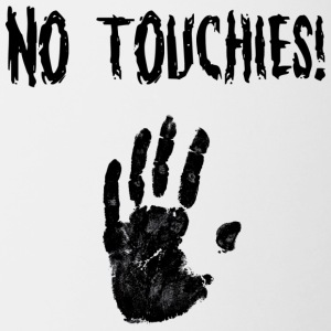 No Touchies in Black 1 Hand Below Text - Contrasting Mug