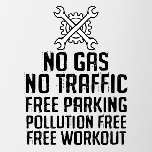 Bicycle: No gas. No traffic. Free parking. - Contrasting Mug