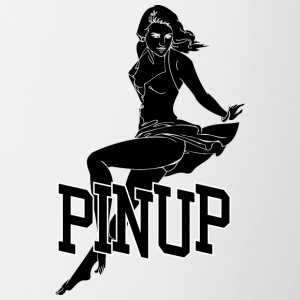 laying pinup sexy girl black - Contrasting Mug