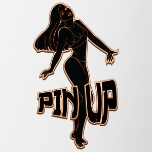 pin up girl 2 feu noir - Tasse bicolore