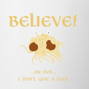 BELIEVE in the Flying Spaghetti Monster - Contrasting Mug