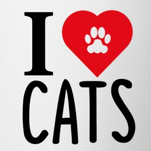 ++ I LOVE CATS ++ - Tofarvet krus