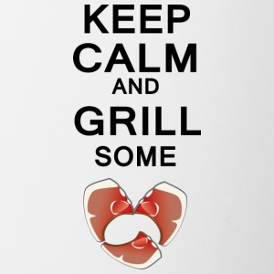 keep calm and grill some steaks anders - Tasse zweifarbig
