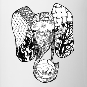 Zentangle-Elephant - Tasse zweifarbig