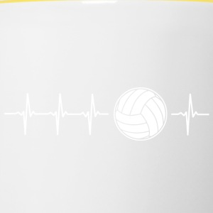 J'aime le volley-ball (volley-ball rythme cardiaque) - Tasse bicolore
