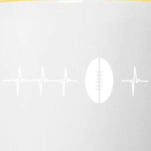 J'aime le rugby (rugby heartbeat) - Tasse bicolore