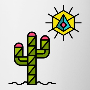 Cactus with sun, summer, Mexico, triangle style - Contrasting Mug