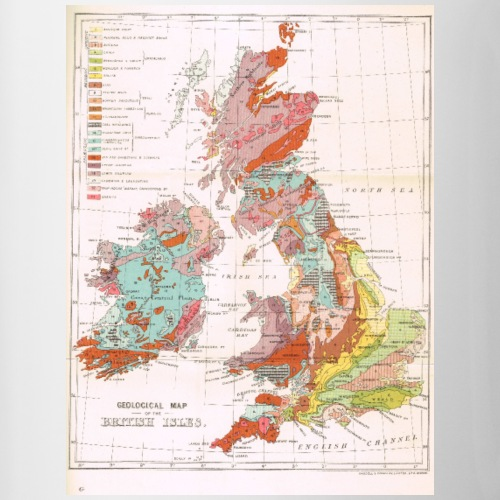 1899 Geological Map of the UK - Contrasting Mug