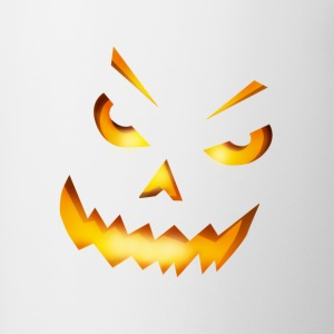 halloween pumpkin horror face grin fire - Contrasting Mug