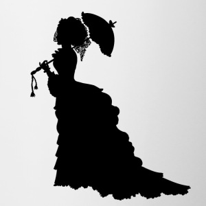 Black Baroque Lady silhouette with umbrella - Contrasting Mug