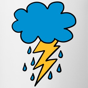 Cloud, flash, raindrop, weather, spring, rain, fun - Contrasting Mug