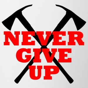 NEVER GIVE UP - Tasse zweifarbig