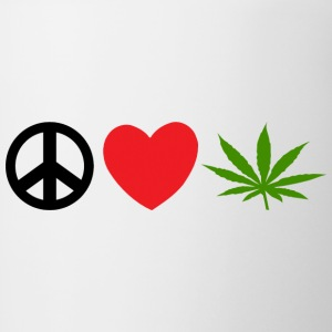 Peace Love Marijuana Cannabis Weed Pot - Tazze bicolor