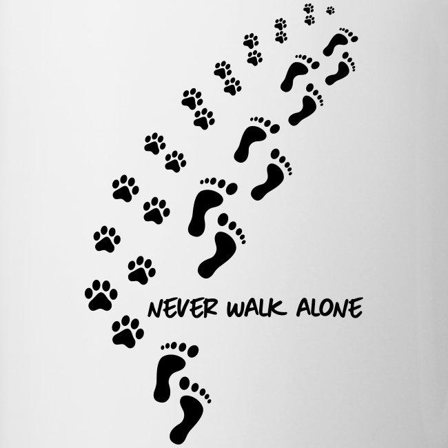 Vorschau: never walk alone dog - Tasse zweifarbig