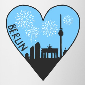 Berlin by night, heart, city, I love, Silhouette - Contrasting Mug