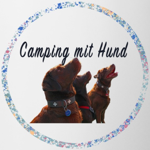 Camping mit Hund - Tasse zweifarbig