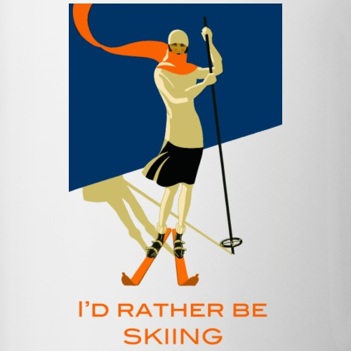 I d Rather Be Skiing Vintage Skier Design - Contrasting Mug