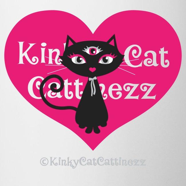 Schwarze Katze- pinkfarbenes Herz