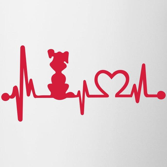Vorschau: dog heart beat - Tasse zweifarbig