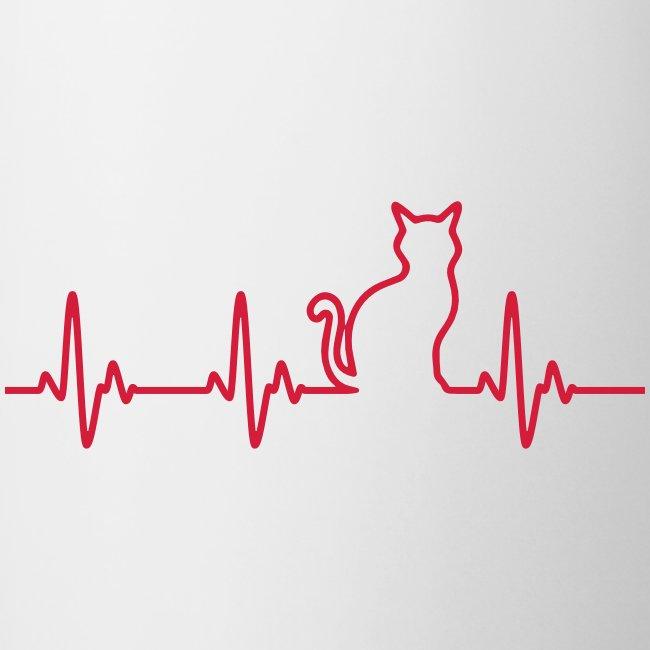 Vorschau: Ein Herz für Katzen - Tasse zweifarbig