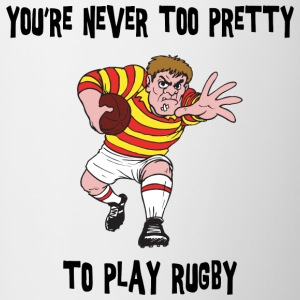 Rugby You're Never Too Pretty to Play - Contrasting Mug