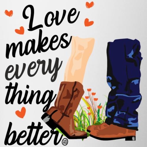 Liebe macht alles besser - Tasse zweifarbig