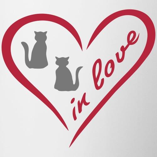 Love - Herz mit zwei Katzen - Tasse zweifarbig