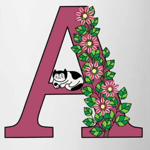 Letter A with cat and flowers - Mug