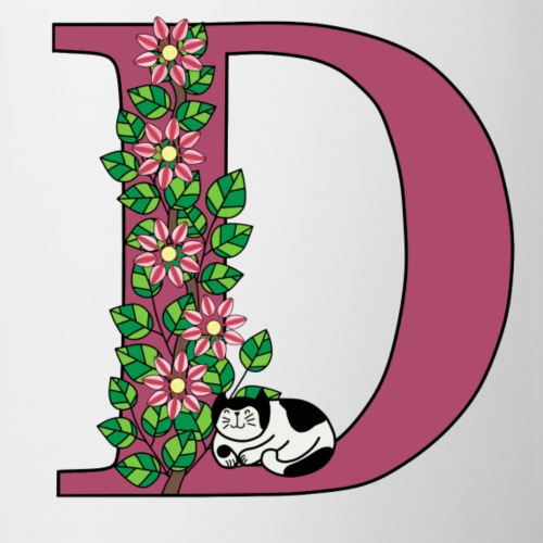 Letter D with cat and flowers - Mug