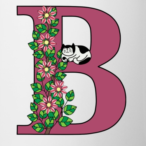 Letter B with cat and flowers - Mug