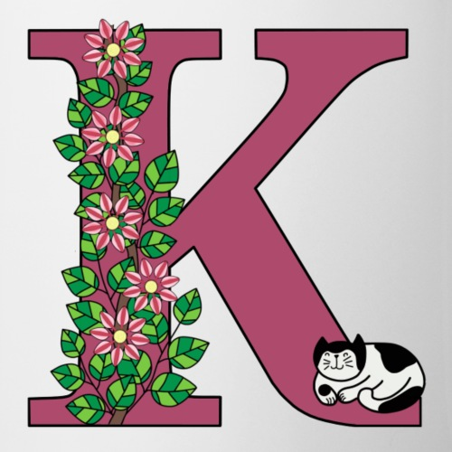 Letter K with cat and flowers - Mug