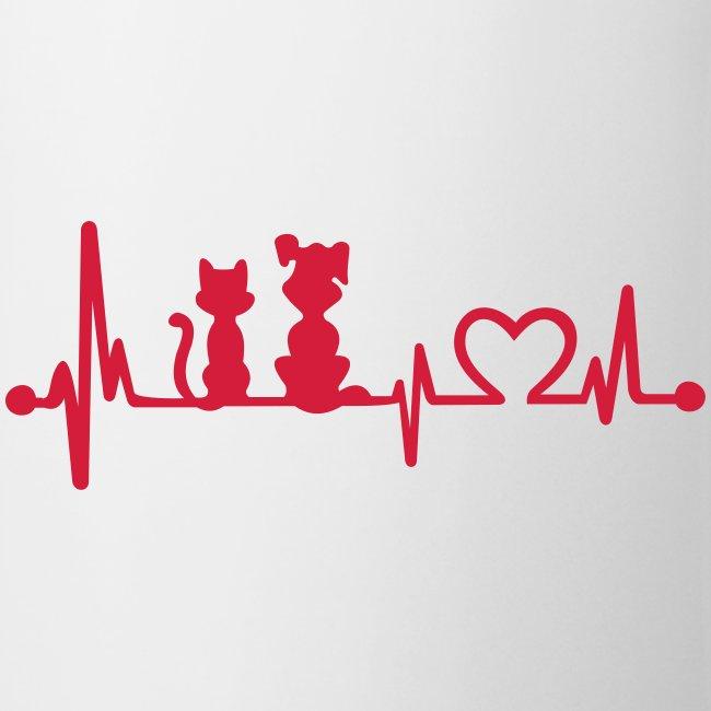 Vorschau: dog cat heartbeat - Tasse