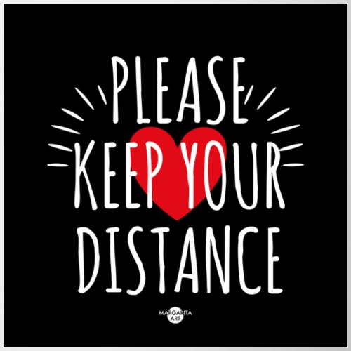 05 Please keep your Distance Heart black - Tasse