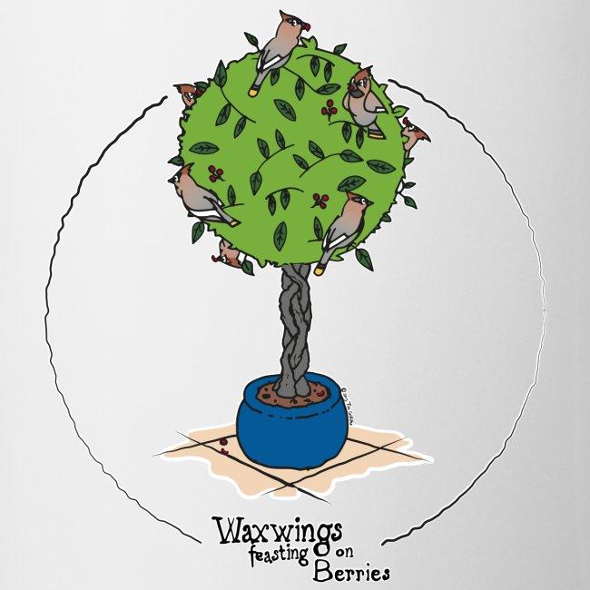 Waxwings feasting on Berries (C, large)