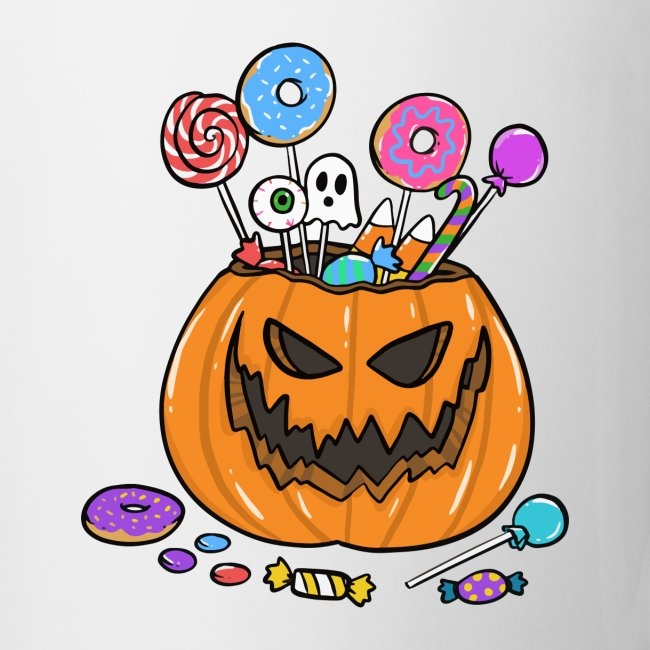 HALLOWEEN PUMPKIN FILLED WITH SWEETS AND DONUTS
